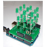 3x3x3 LED Cube Arduino Shield - Green