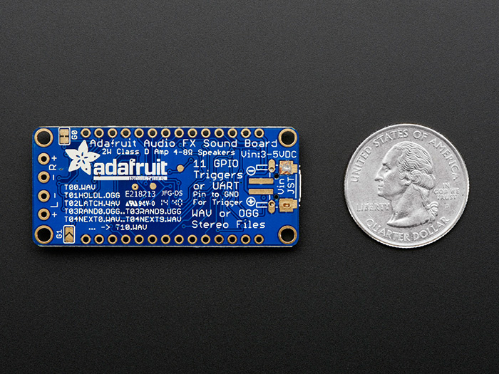 Adafruit Audio FX Sound Board + 2x2W Amp - WAV/OGG Trigger -16MB - Click Image to Close