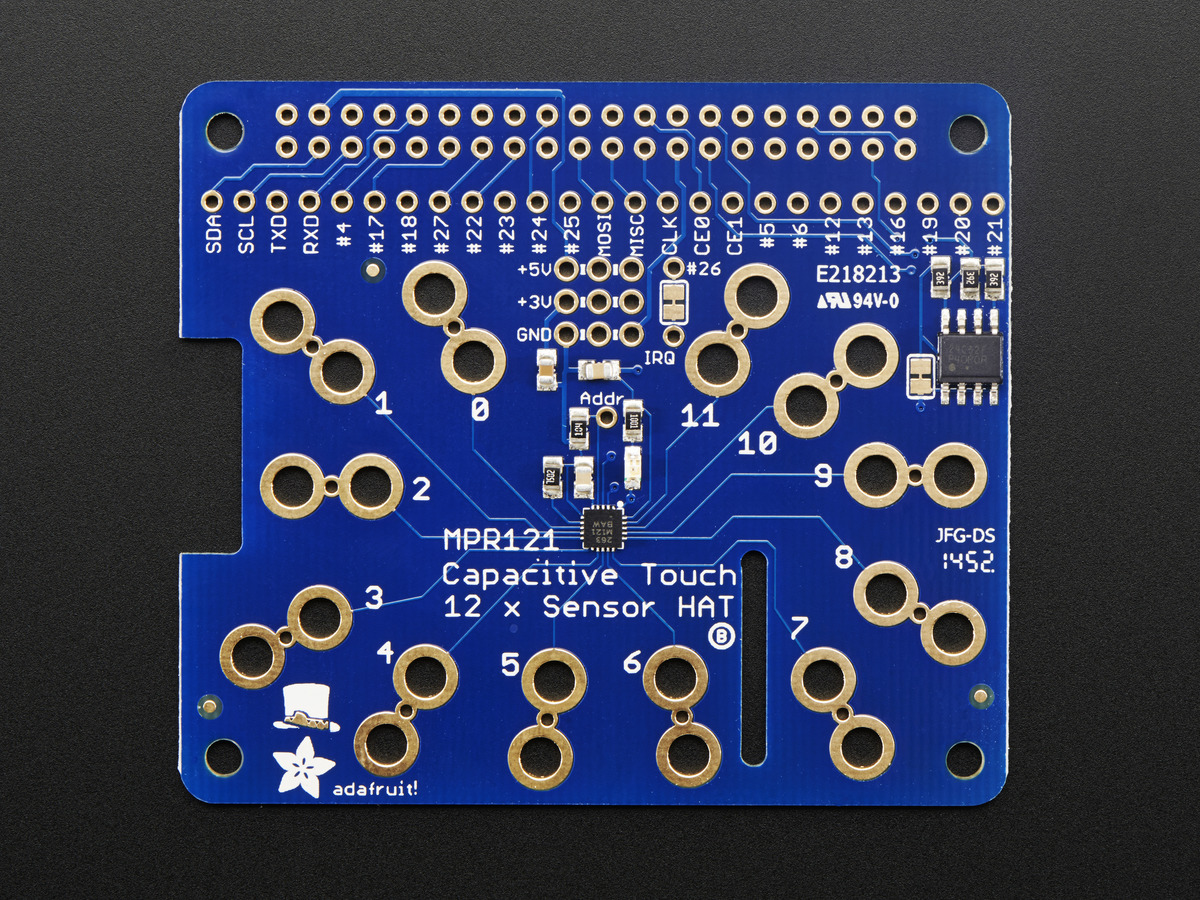 Adafruit Capacitive Touch HAT for Rasp. Pi - Mini Kit - MPR121 - Click Image to Close