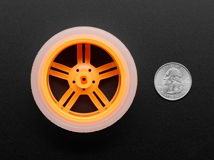 Orange and Clear TT Motor Wheel for TT DC Gearbox Motor - Click Image to Close