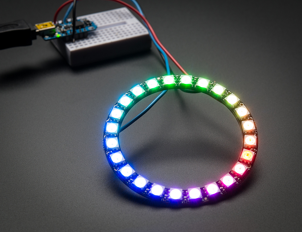 NeoPixel Ring - 24 x WS2812 5050 RGB LED with Integrated Drivers - Click Image to Close