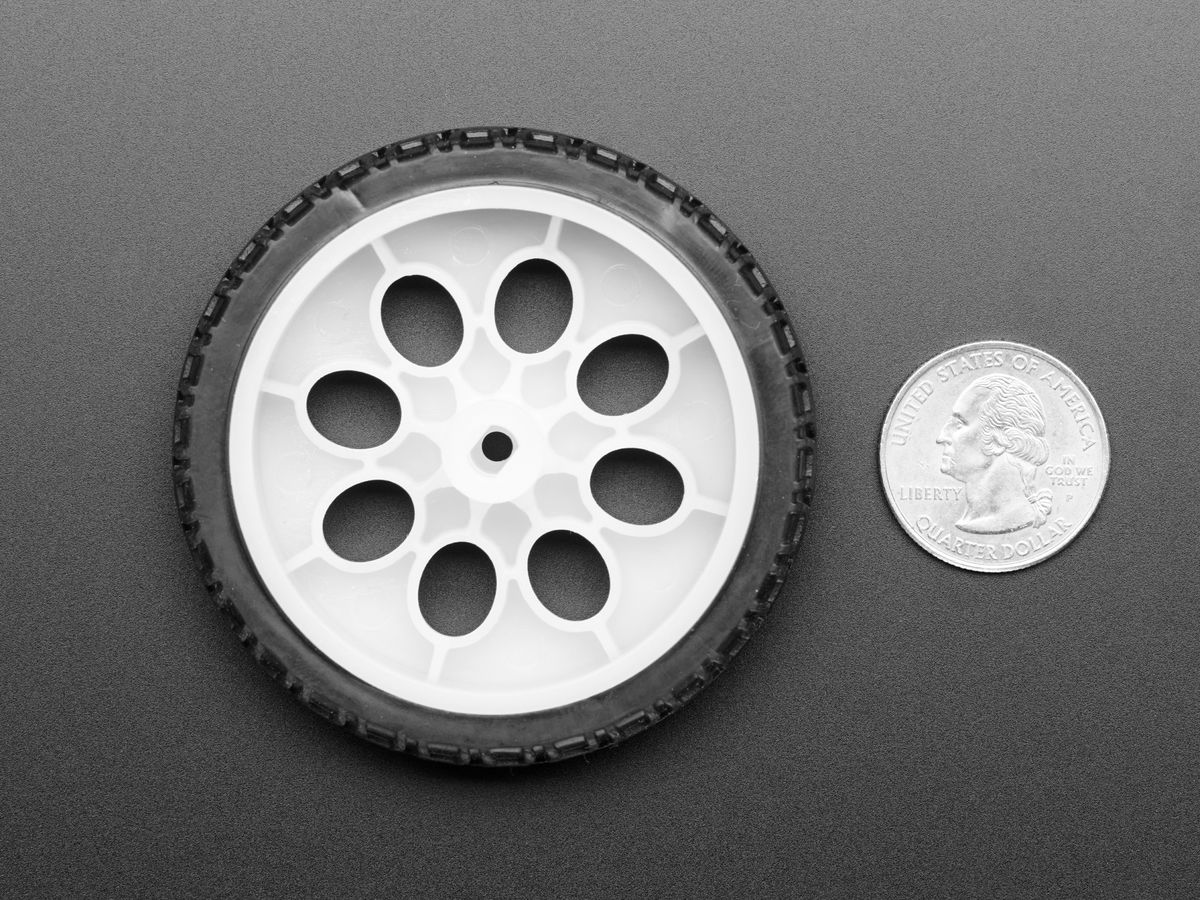 Thin White Wheel for TT DC Gearbox Motors - 65mm Diameter - Click Image to Close