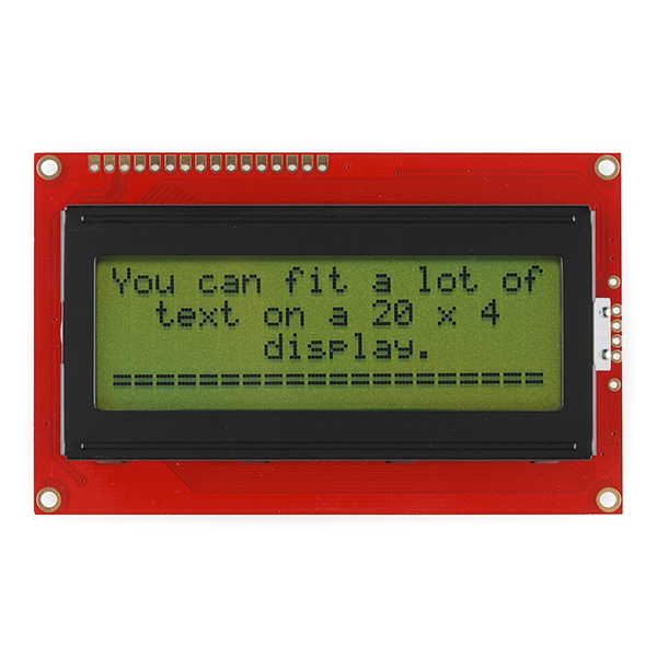 Basic 20x4 Character LCD - Black on Green 5V - Click Image to Close
